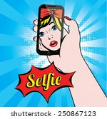 women selfie pop art vector...   Shutterstock .eps vector #250867123