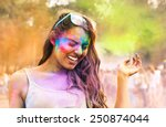 portrait of happy young girl on ... | Shutterstock . vector #250874044