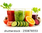 glasses with fresh organic... | Shutterstock . vector #250878553