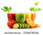 glasses with fresh organic... | Shutterstock . vector #250878556