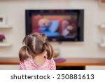 little cute girl watching tv | Shutterstock . vector #250881613