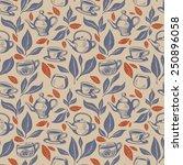 cozy background with tea...   Shutterstock .eps vector #250896058