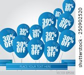 blue balloons with sale...   Shutterstock .eps vector #250902520