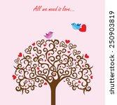 love tree and birds in love   Shutterstock .eps vector #250903819