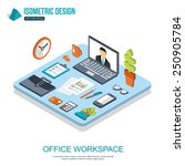 office workplace concept. flat... | Shutterstock .eps vector #250905784