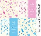 set of baby shower background... | Shutterstock .eps vector #250907449