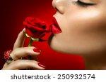 Beautiful Model Woman Kissing...