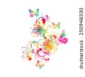 abstract floral watercolor.... | Shutterstock .eps vector #250948330