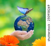 Stock photo child holding earth planet with blue butterfly in hands against green blurred background earth day 250958269
