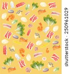 meat and vegetable background | Shutterstock .eps vector #250961029