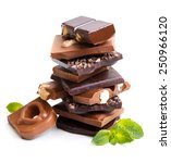 chocolate with mint on white... | Shutterstock . vector #250966120