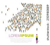crowded people vector arrow... | Shutterstock .eps vector #250980889