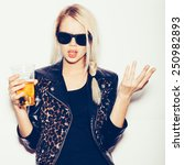 hipster girl in sunglasses and... | Shutterstock . vector #250982893