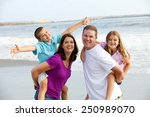 happy loving family playing on... | Shutterstock . vector #250989070