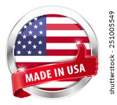 made in usa silver badge thumbs ... | Shutterstock .eps vector #251005549