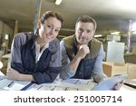 portrait of smiling workers in