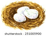 vector watercolor drawing nest...