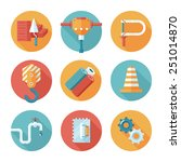 trendy flat working tools icons.... | Shutterstock .eps vector #251014870