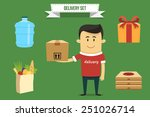 vector delivery guy with set of ... | Shutterstock .eps vector #251026714