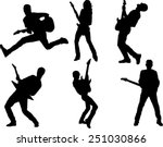 The set of 6 guitar player silhouette