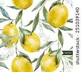 lemon  watercolor pattern ... | Shutterstock .eps vector #251039140