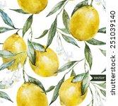 lemon  watercolor pattern ... | Shutterstock .eps vector #251039140