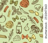 hand drawn italian pasta... | Shutterstock .eps vector #251047363