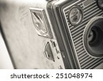 well used vintage box camera close up - stock photo