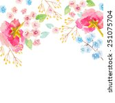 vector frame with watercolor... | Shutterstock .eps vector #251075704