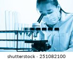 scientist with equipment and... | Shutterstock . vector #251082100