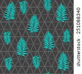 tribal pattern with palm leaf... | Shutterstock .eps vector #251088340