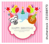 birthday invitation with cute... | Shutterstock .eps vector #251088970