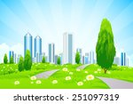 green landscape with trees ... | Shutterstock . vector #251097319