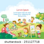 kids  playing outside | Shutterstock .eps vector #251127718