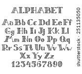 alphabet and numbers  hand... | Shutterstock .eps vector #251135050