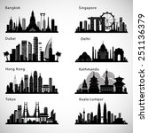 asian cities skyline set.... | Shutterstock .eps vector #251136379