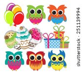 colorful owl set for birthday... | Shutterstock .eps vector #251139994
