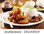fried chicken pieces in batter...   Shutterstock . vector #251143519