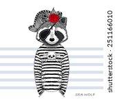 illustration of raccoon pirate | Shutterstock .eps vector #251166010