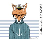 illustration of captain fox | Shutterstock .eps vector #251166013