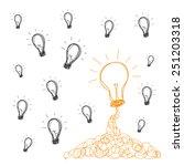 handwriting bulb light idea... | Shutterstock .eps vector #251203318