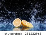 Sliced Lemon In The Water On...