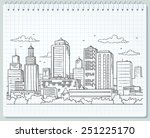 big city skyline drawing | Shutterstock .eps vector #251225170