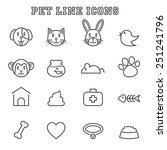 pet line icons  mono vector... | Shutterstock .eps vector #251241796