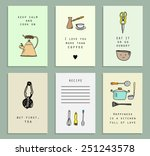 six cute and funny cards...   Shutterstock .eps vector #251243578