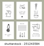 six cute and funny cards...   Shutterstock .eps vector #251243584