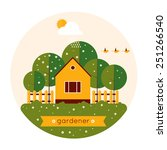 Home Gardener And Garden With...