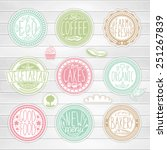 set of retro badges on a wood... | Shutterstock .eps vector #251267839