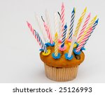 cupcake   muffin and candle | Shutterstock . vector #25126993