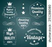 five white vector vintage...   Shutterstock .eps vector #251288080